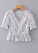 Embroidered Eyelet Blouse