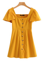 Button Front Ruffle Sleeves Dress