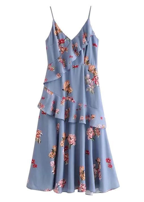 Flounce Overlay Detail Floral Midi Dress