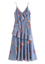 Flounce Overlay Detail Floral Midi Dress