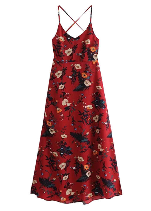 Backless Maxi Dress in Red Floral