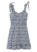 Self-Tie Strap Floral Dress