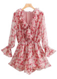 Bell Sleeve Romper in Red Floral