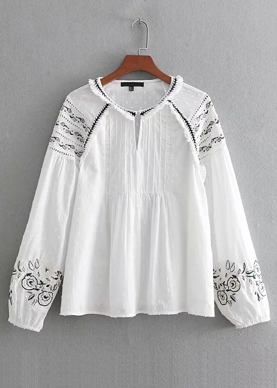 Long Sleeve Embroidered Blouse in White