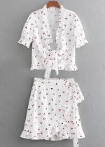 Floral Set ( Tie Front Blouse & Skirt )