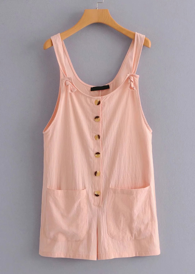 Button Front Tank Dress in Blush