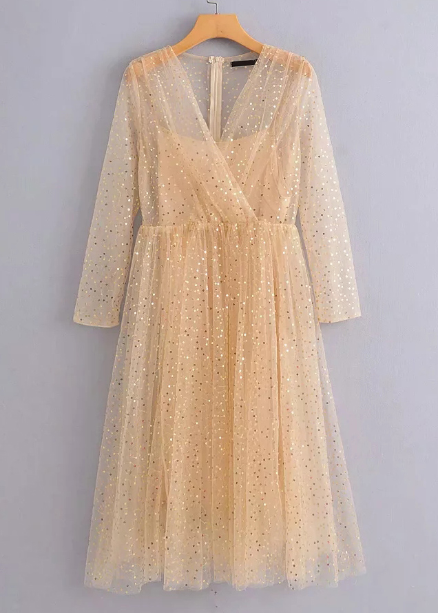 Sequined Sheer Mesh Maxi Dress in Apricot