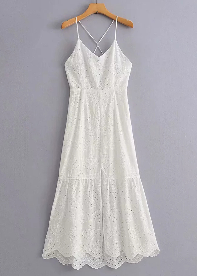 Embroidered Eyelet Maxi Dress in White