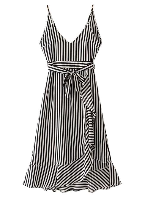Flounce Hem Striped Midi Dress