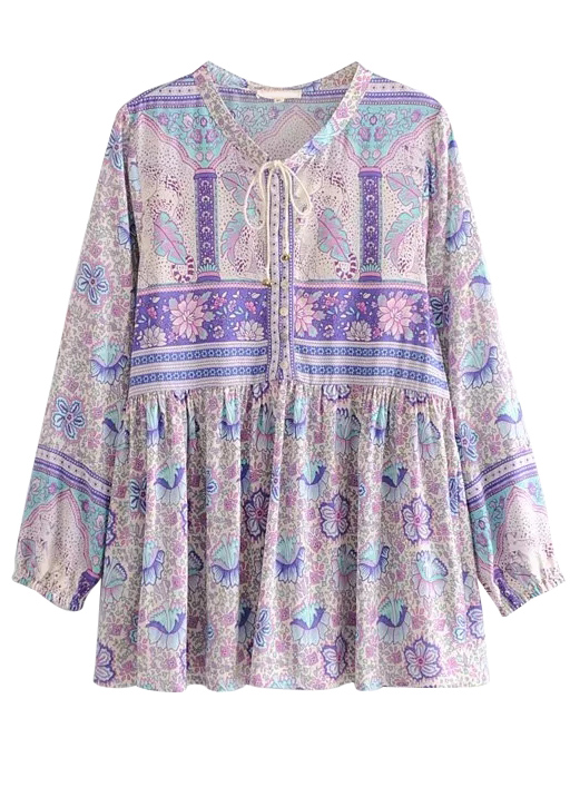 Long Sleeve Blouse in Mauve Floral