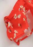Off Shoulder Romper in Red Floral