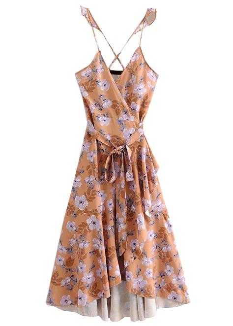 Wrap Maxi Dress in Caramel Floral