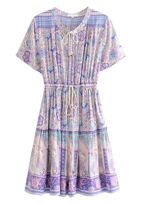Tie Detail Dress in Mauve Floral