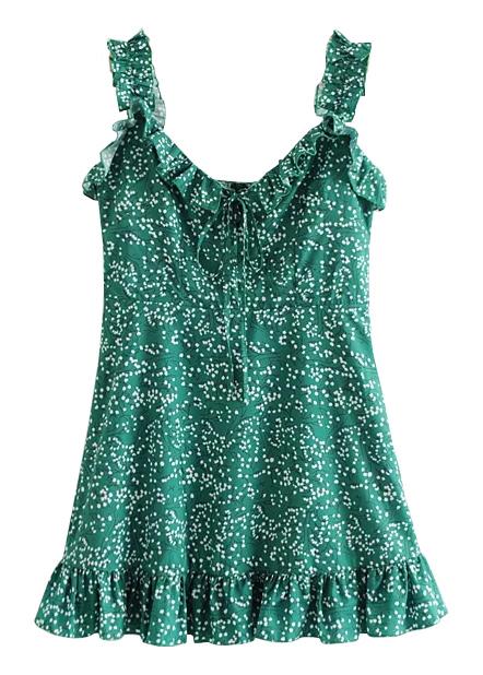 Frill Slip Dress in Green Floral