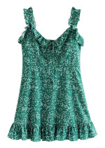 Frill Slip Dress in Green Floral