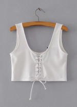 Lace-Up Front Crop Top - Size M
