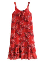Tiered Flounce Hem Midi Dress in Red Floral