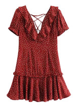 Flounce Detail Dress in Red Dot