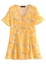 Button Front Dress in Yellow Floral