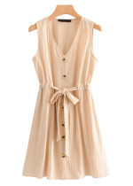 Belted Waist Dress in Apricot