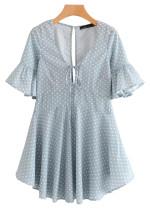 Bell Sleeve Dress in Pale Blue