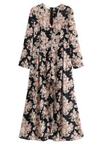 Floral Romper with Draped Long Skirt Overlay