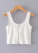 Zipper Front Crop Top