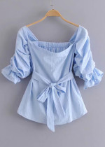 Gathered Puff Sleeves Blouse