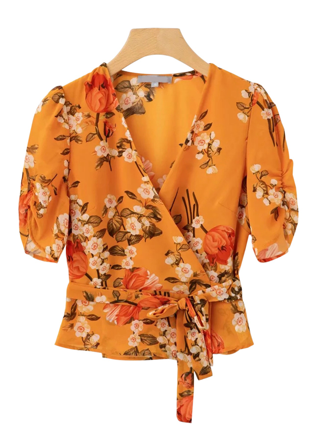 Wrap Top in Yellow Floral