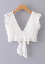 Tie Back Crop Top in White