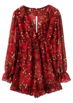 Long Sleeves Short Dress in Red Floral