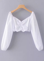 Long Sleeves Crop Blouse in White