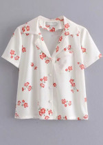 Short Sleeves Blouse in White Floral