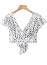 Crop Top in White Floral