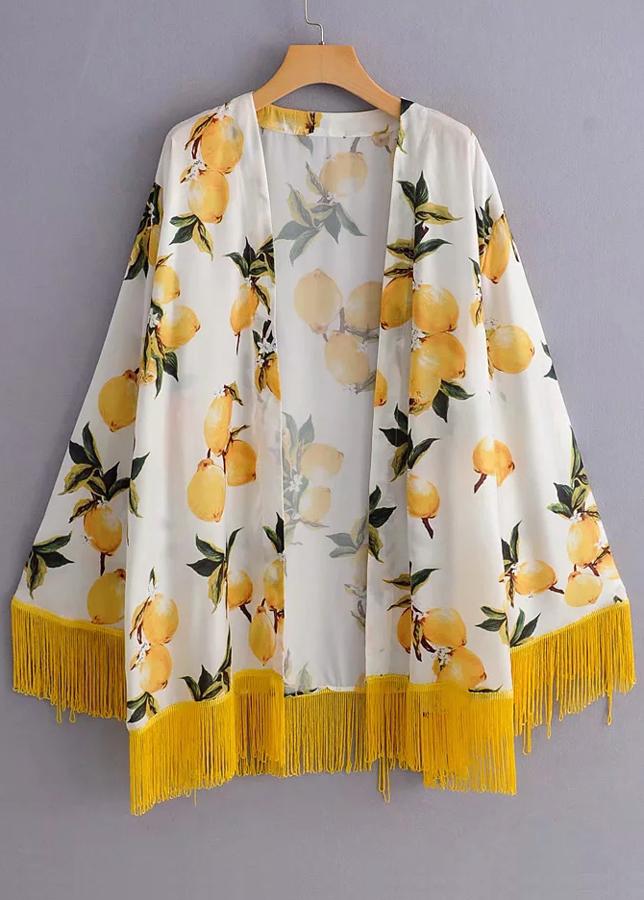 Fringed Floral Kimono