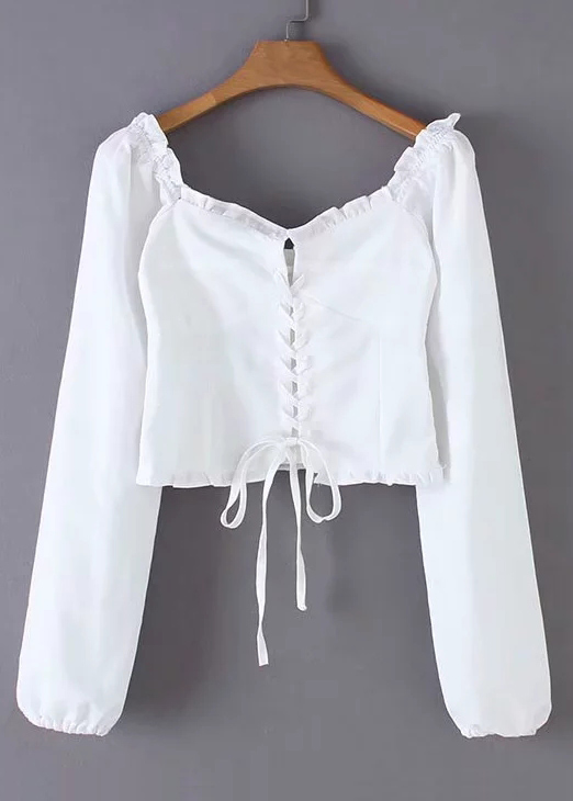Lace-Up Tie Front Crop Blouse