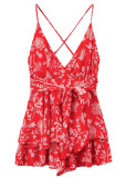 Backless Romper in Red Floral