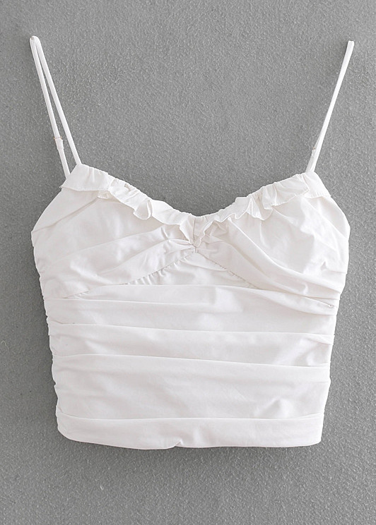 Ruffle Crop Top in White