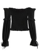 Off Shoulder Crop Blouse in Black