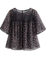 Short Sleeves Blouse in Black Floral