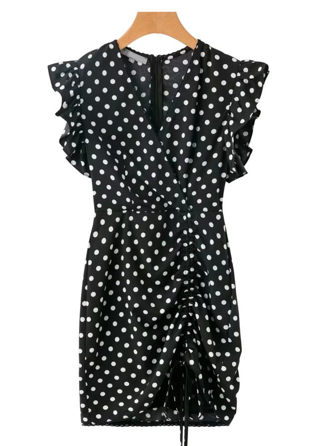 Ruffle Sleeves Polka Dot Dress in Black