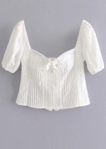 Short Sleeves Crop Blouse in White