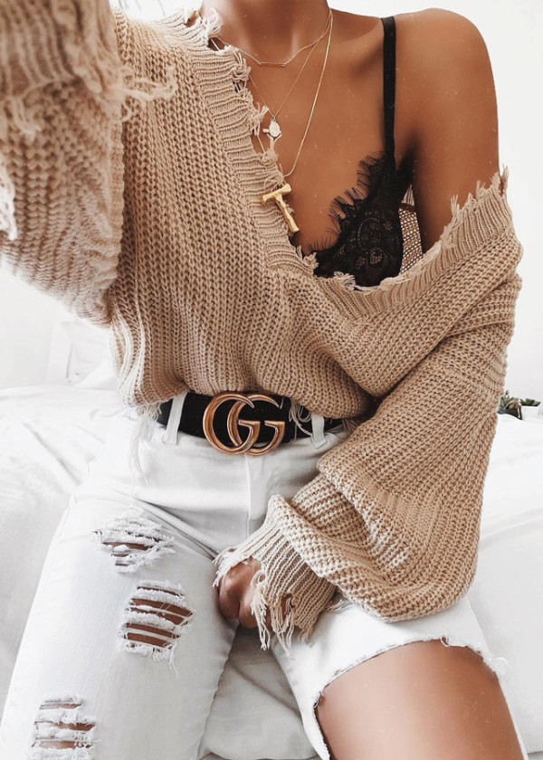 V-Neck Fringed Sweater