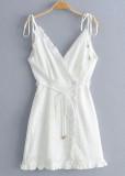Frill Wrap Short Dress