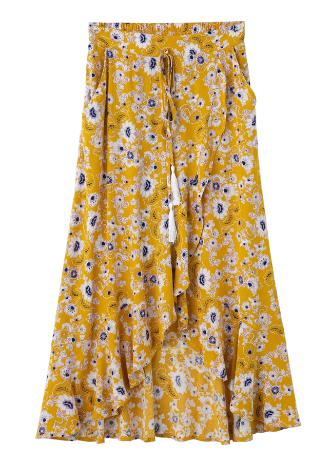 Floral Skirt in Yellow Floral