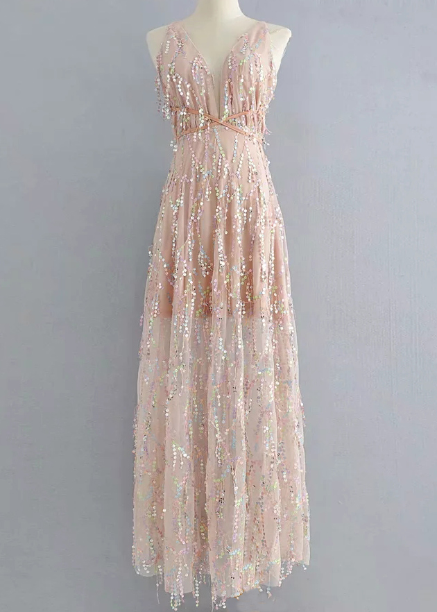 Backless Sequined Maxi Dress ( in 3 Colors )