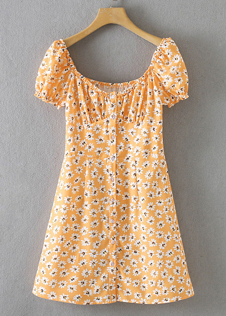 Short Sleeves Short Dress in Yellow Floral