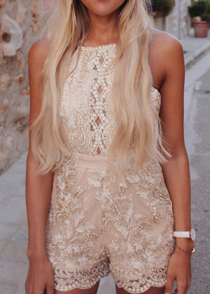 Backless Embroidered Romper