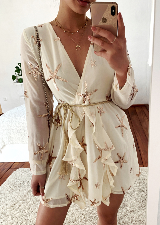 Sequined Detail Long Sleeve Dress
