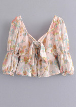 Crop Blouse in Blush Floral